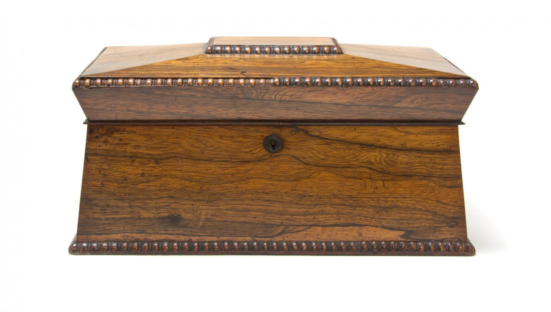 A Regency Rosewood Tea Caddy, Width 14 inches.