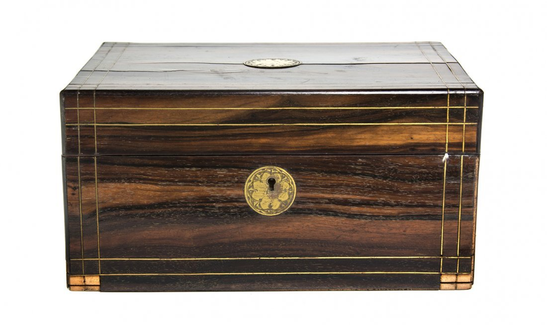 An English Brass Inset Rosewood Sewing Box, Width 12 in
