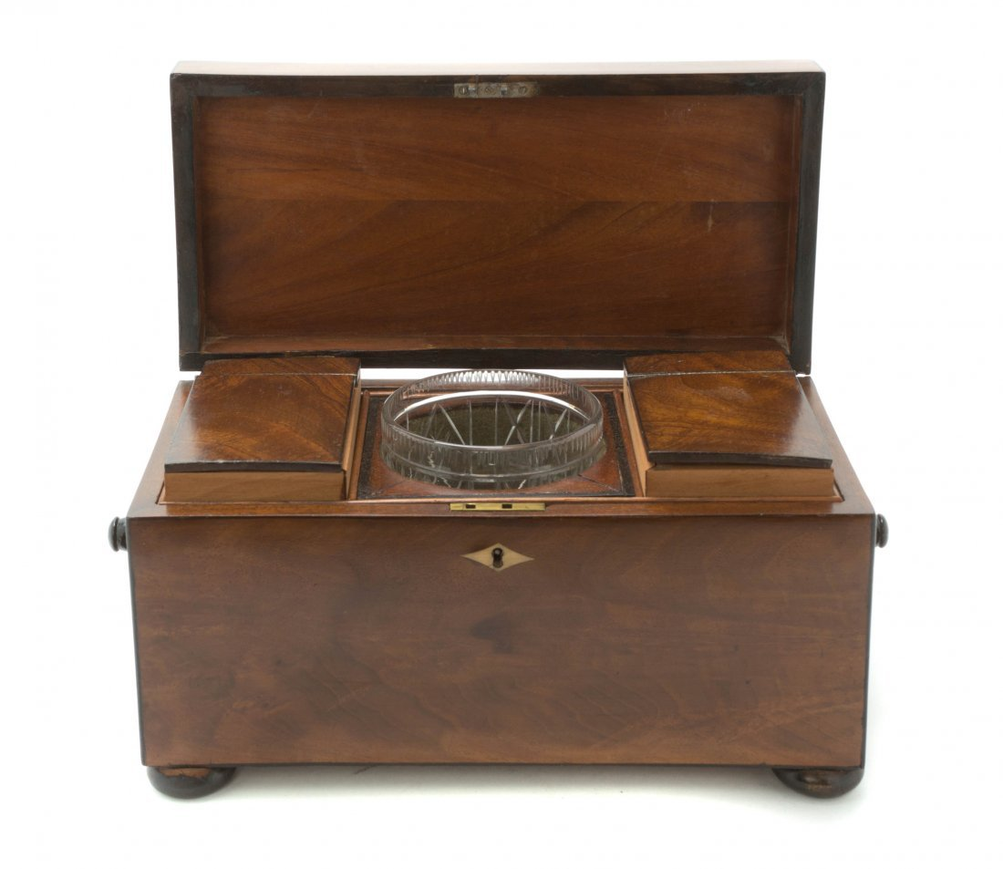 A Regency Mahogany and Ebonized Wood Tea Caddy, Width o