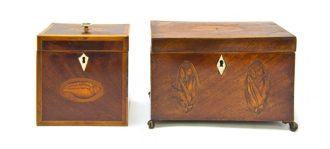Two Regency Mahogany Marquetry Tea Caddies, Width of wi