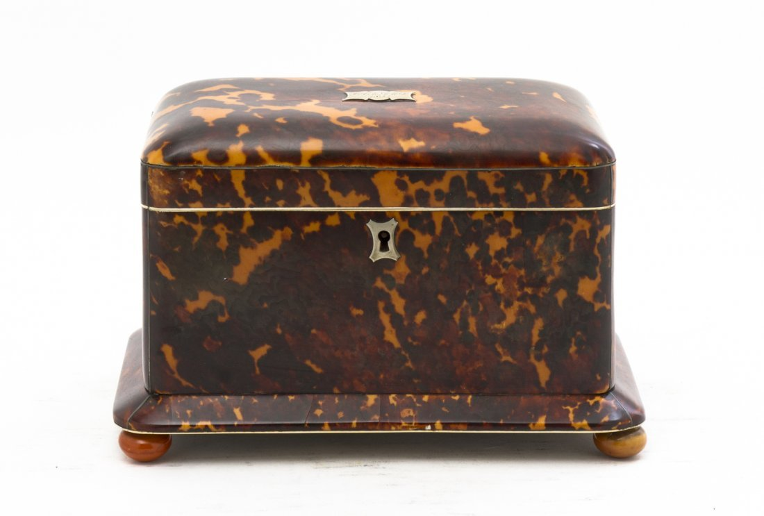 An English Tortoise Shell Tea Caddy, Width 8 inches.