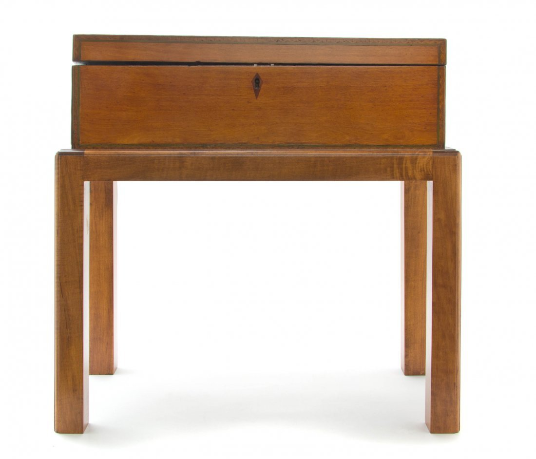 A Regency Satinwood and Marquetry Lap Desk, Height over