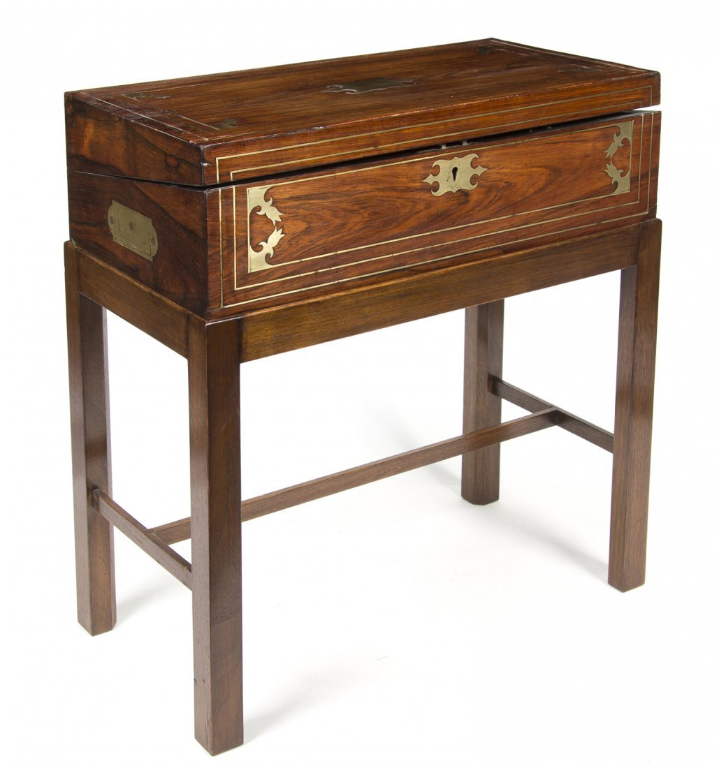 A Regency Rosewood and Brass Bound Lap Desk, Height ove