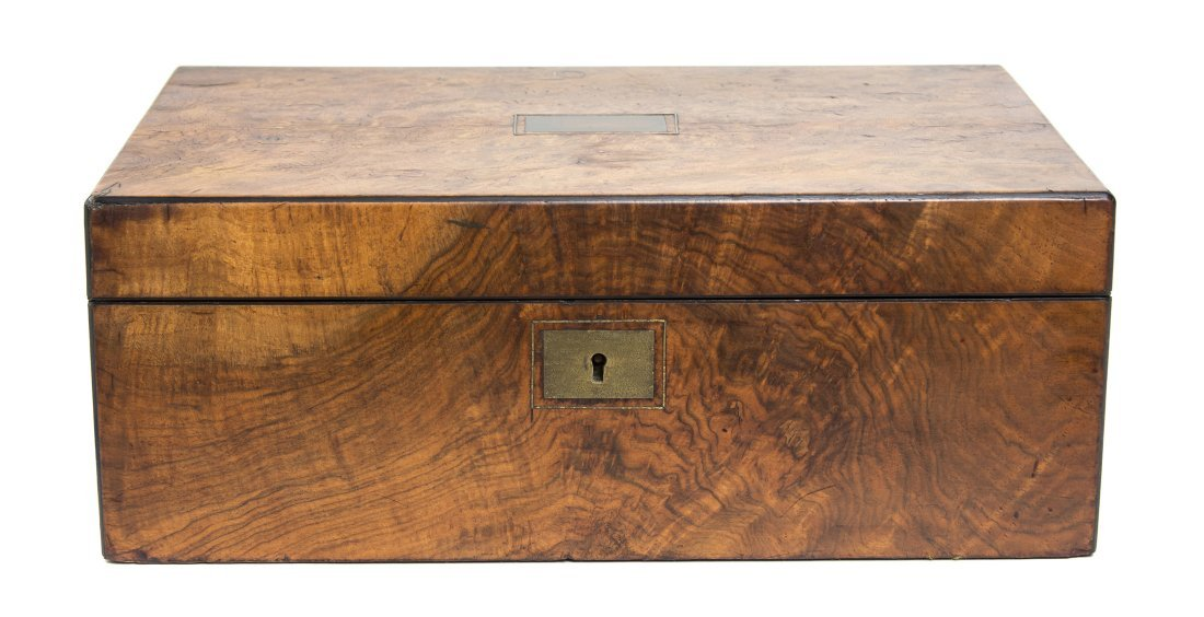 An English Burlwood Lap Desk, Width 13 7/8 inches.
