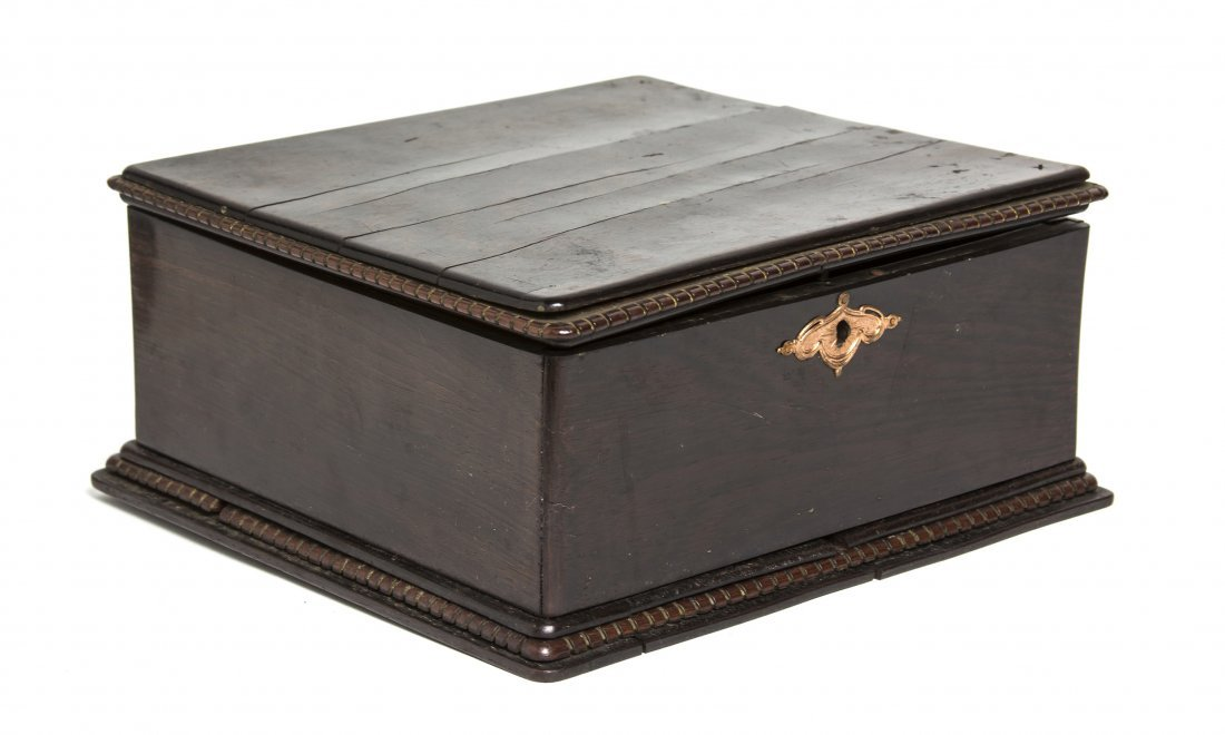An Anglo-Indian Ebony Table Casket, Width 10 3/8 inches