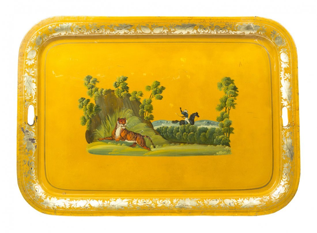 An Anglo-Indian Tole Tray, Width over handles 29 3/4 in