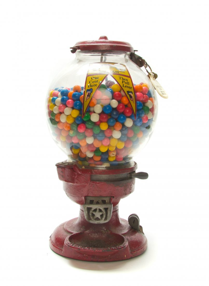 An American Cast Iron and Glass Model A Gumball Machine