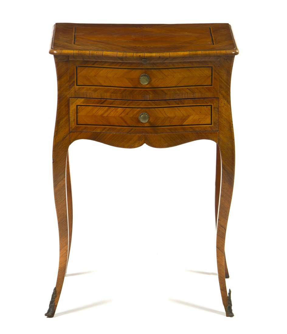 A Louis XV Parquetry Work Table, Height 26 3/4 x width