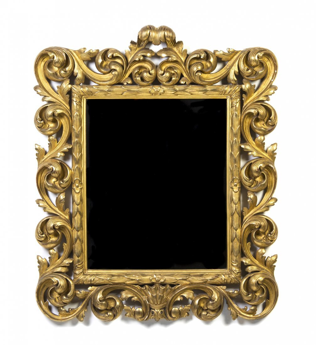 A Rococo Giltwood Mirror, Height 41 x width 33 1/2 inch