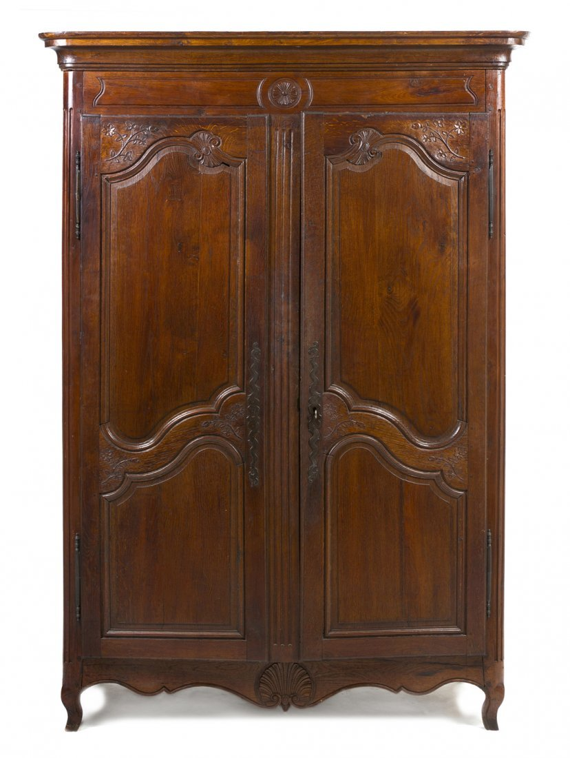 A French Provincial Walnut Armoire, Height 77 x width 5