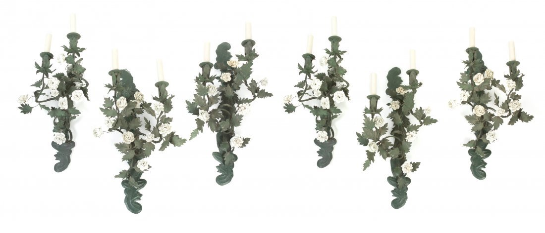 A Set of Six French Tole and Porcelain Two-Light Sconce