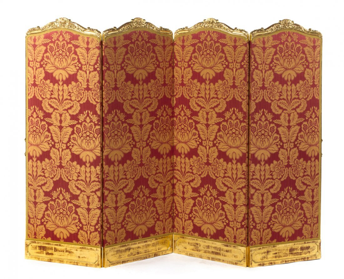 A French Giltwood Four-Panel Floor Screen, Height of ea