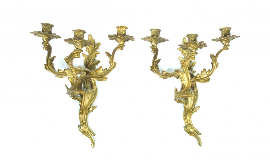 A Pair of Louis XV Style Gilt Metal Three-Light Sconces