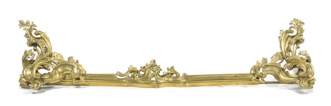 A Pair of Louis XV Style Gilt Bronze Chenets, Width of