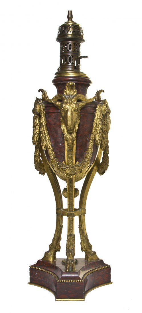 A Louis XV Style Gilt Bronze and Rouge Marble Oil Lamp,