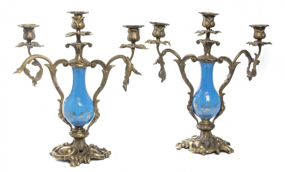 A Pair of Louis XV Style Gilt Bronze and Opaline Glass