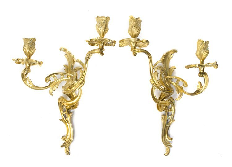 A Pair of Louis XV Style Gilt Bronze Two-Light Sconces,