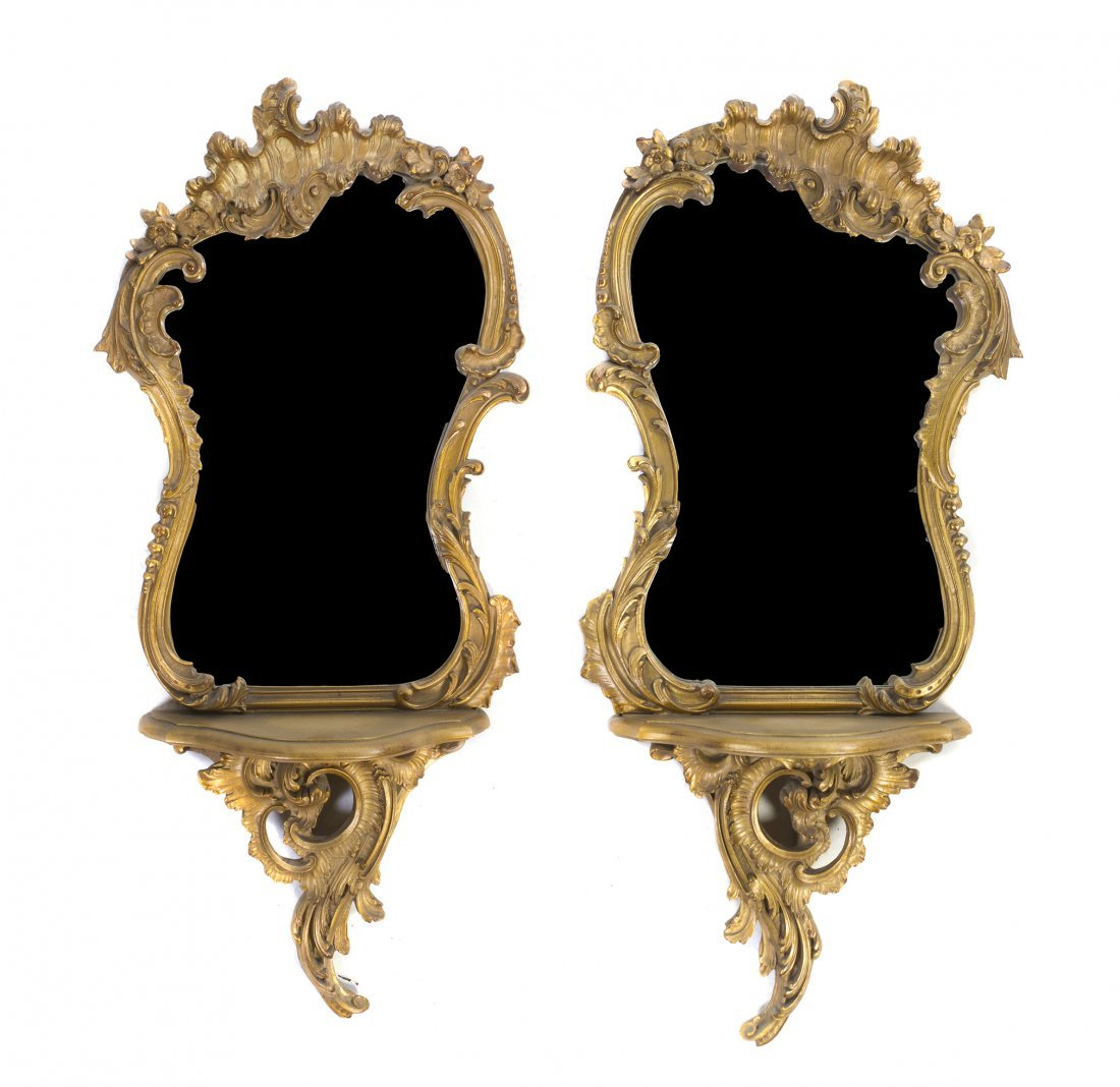 A Pair of Louis XV Style Giltwood Mirrors, Height 36 1/