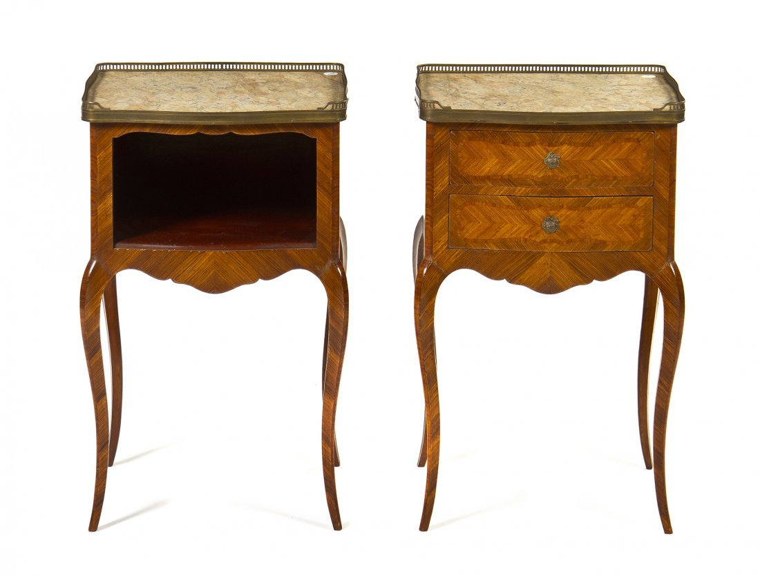 A Pair of Louis XV Style Kingwood and Tulipwood Parquet