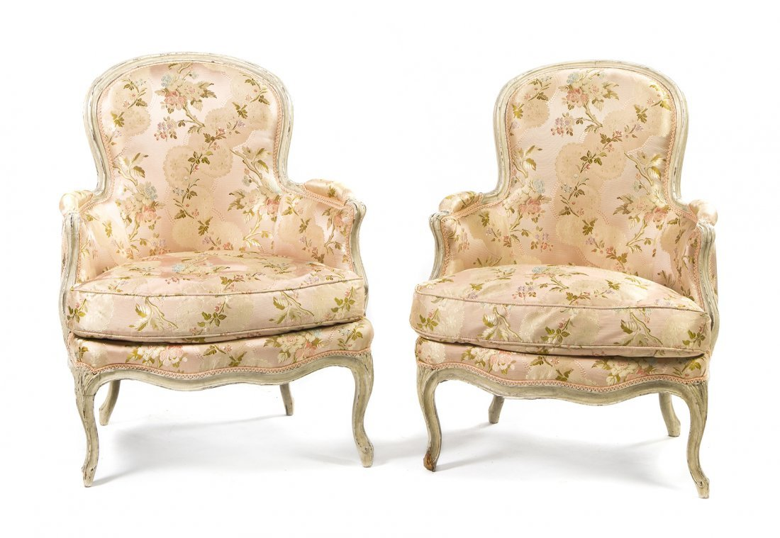 A Pair of Louis XV Painted Bergeres, Height 36 1/4 inch