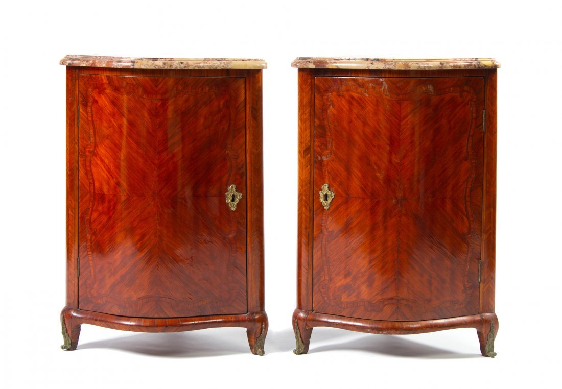 A Pair of Louis XV Kingwood Encoignures, in the manner