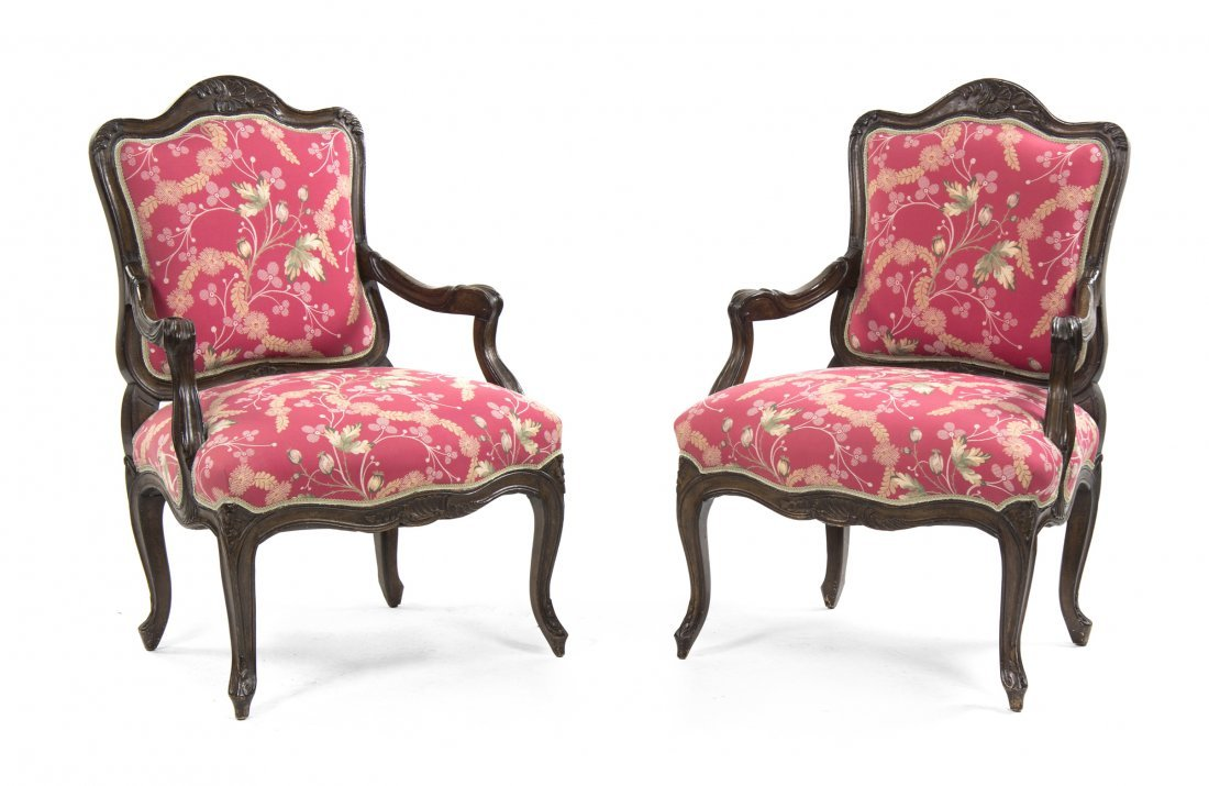 A Pair of Louis XV Style Fruitwood Fauteuils, Height 39