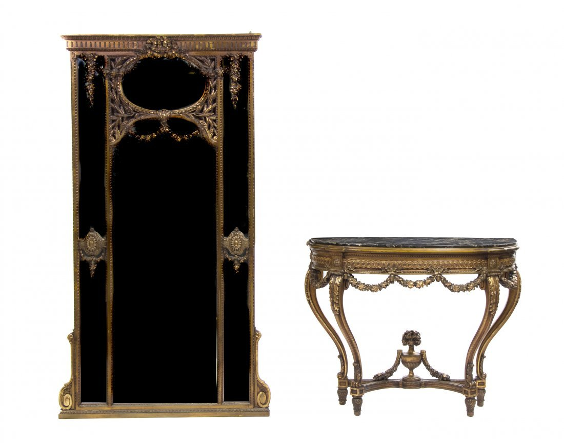 A Louis XV Style Giltwood Console Table and Pier Mirror