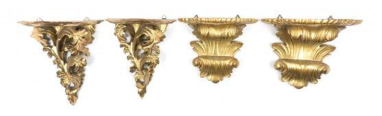 Two Italian Giltwood Wall Brackets, Height of first 9 1