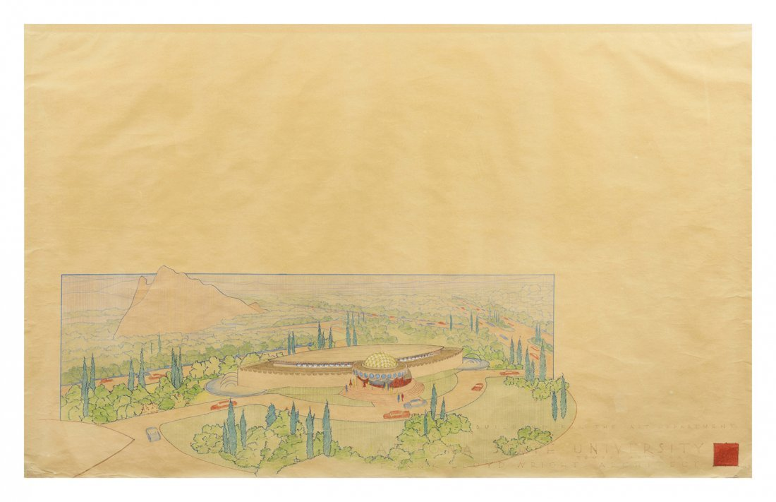 A Frank Lloyd Wright Pencil Architectural Drawing on Pa