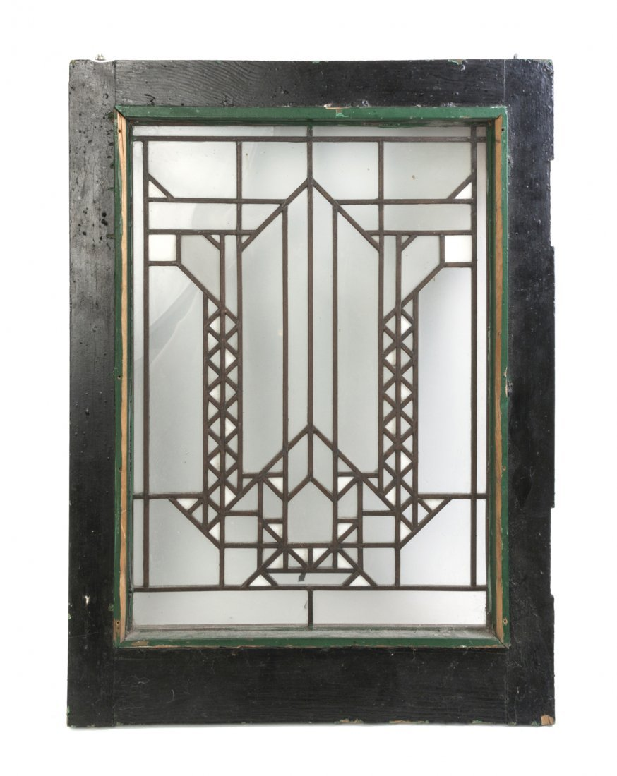 A Frank Lloyd Wright Leaded Glass Window, Height 25 3/4
