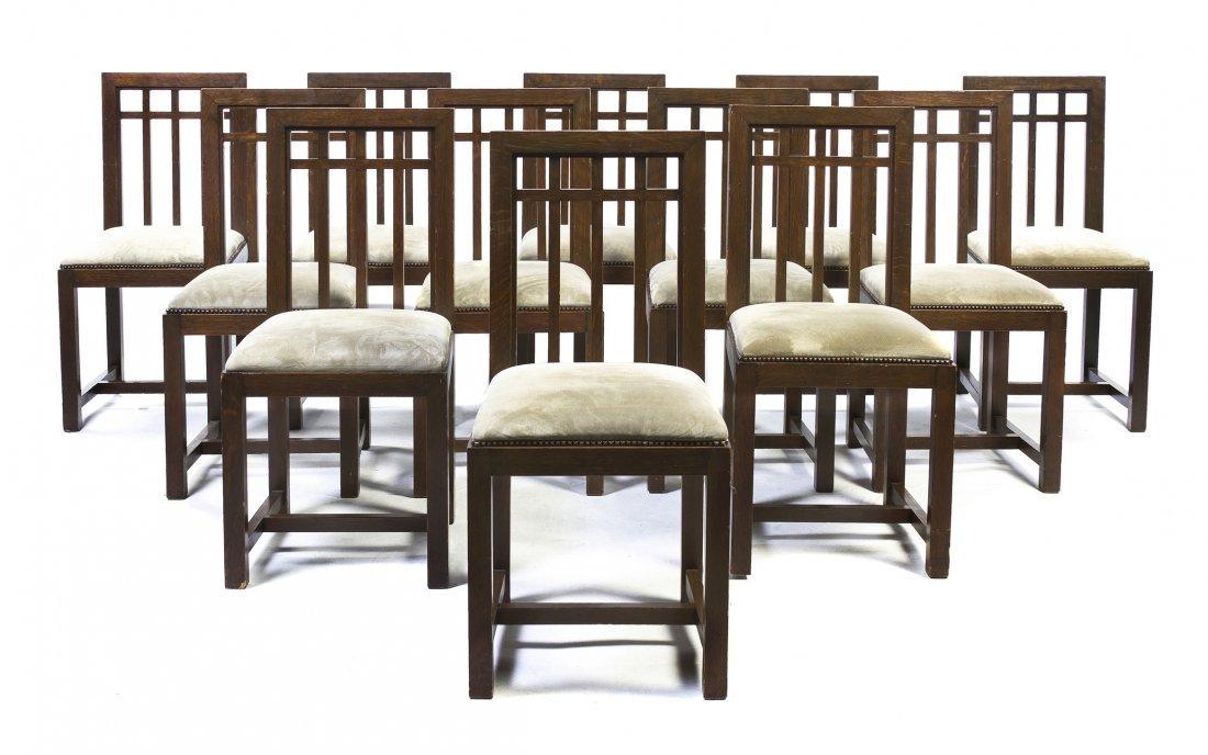 Twelve George Washington Maher Oak Side Chairs, (1824-1