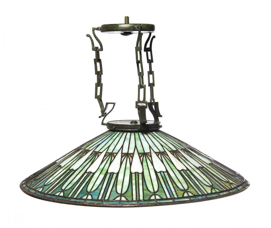 A Suess Ornamental Glass Company Leaded Glass Fixture,