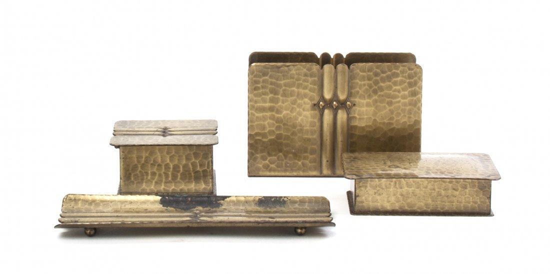 A Roycroft Brass Washed Hammered Copper Desk Set, Lengt