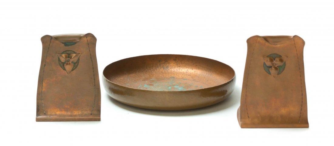 Three Roycroft Hammered Copper Articles, Diameter of bo