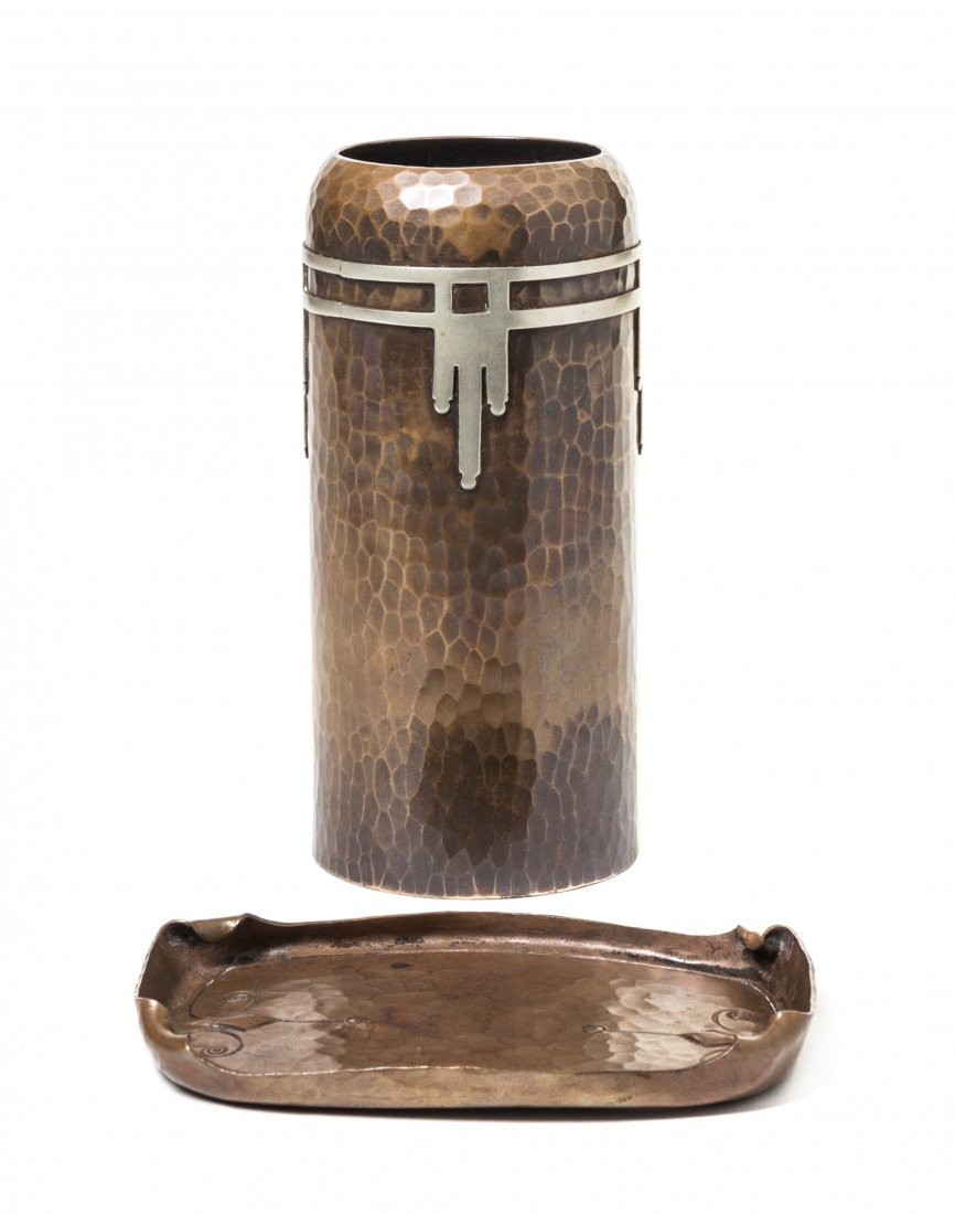 A Roycroft Hammered Copper and Silver Vase, Height of v