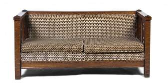 An American Arts and Crafts Oak Settee, Width 71 1/2 in