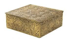 A Tiffany Studios Dore Bronze Humidor, Width 6 1/2 inch