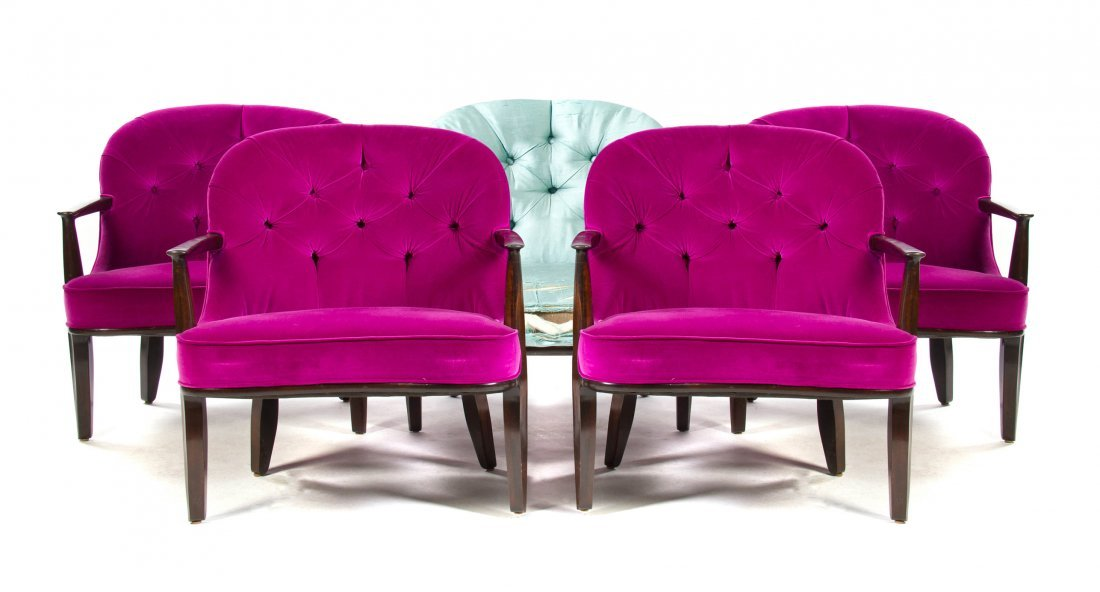 A Set of Five Edward Wormley Janus Armchairs, for Dunba