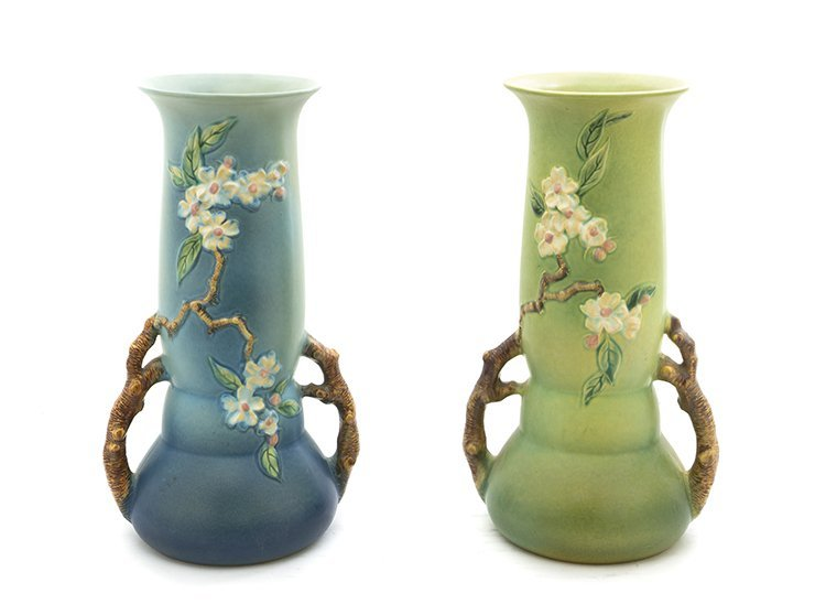 A Near Pair of Roseville Pottery Vases, Height 15 1/4 i