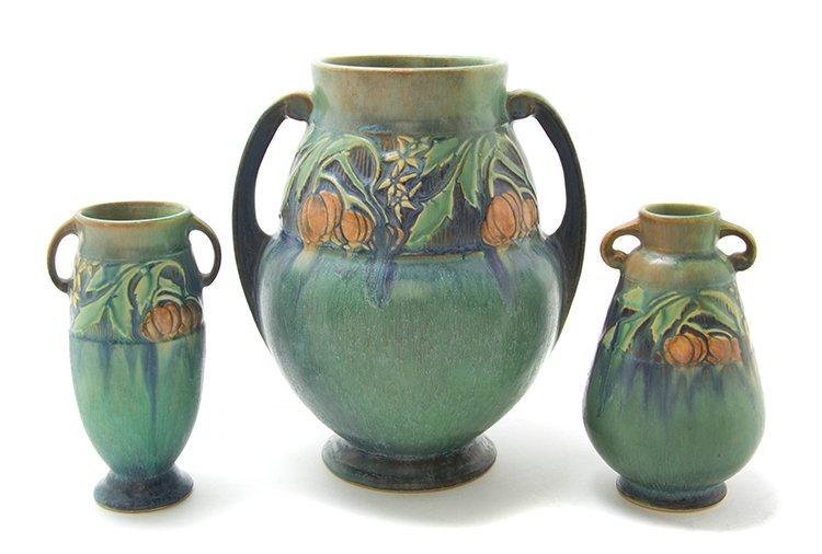 Three Roseville Pottery Vases, Height of tallest 9 1/4