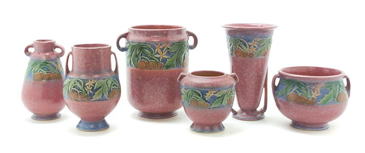 Six Roseville Pottery Vases, Height of tallest 7 inches