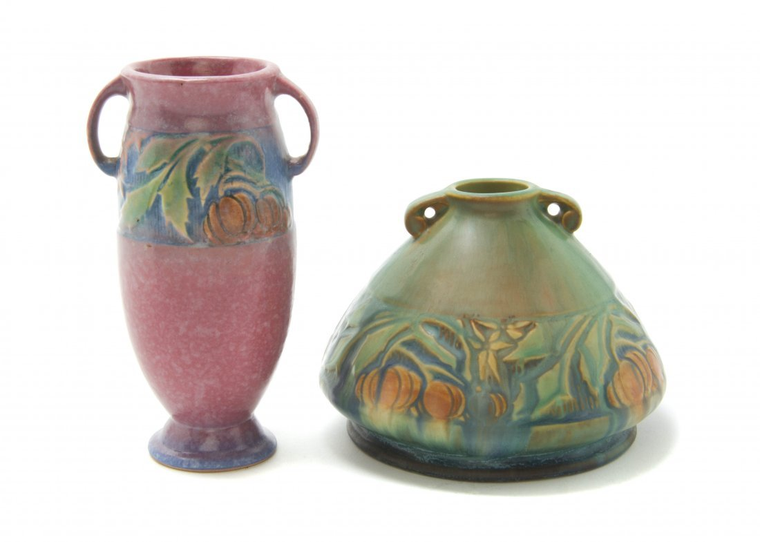Two Roseville Pottery Vases, Height of taller 6 1/4 inc