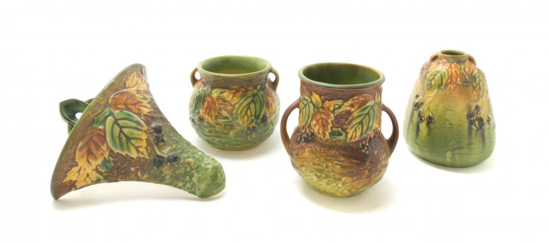 Four Roseville Pottery Articles, Height of tallest 8 1/