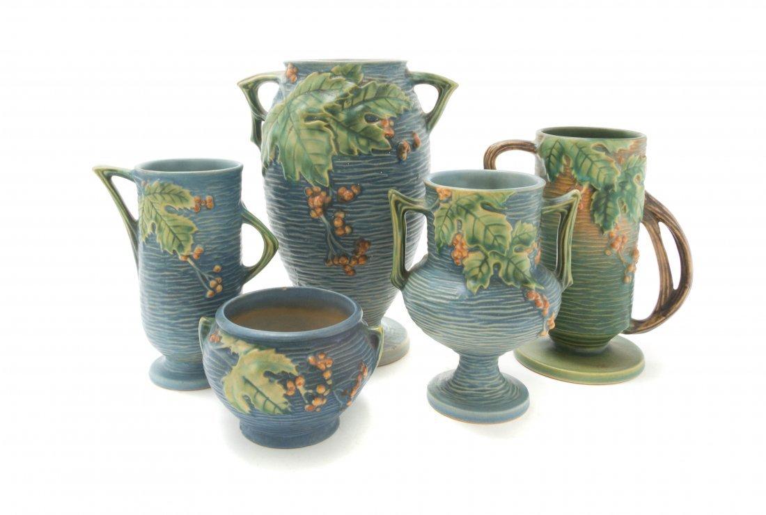 Five Roseville Pottery Vases, Height of tallest 9 1/2 i