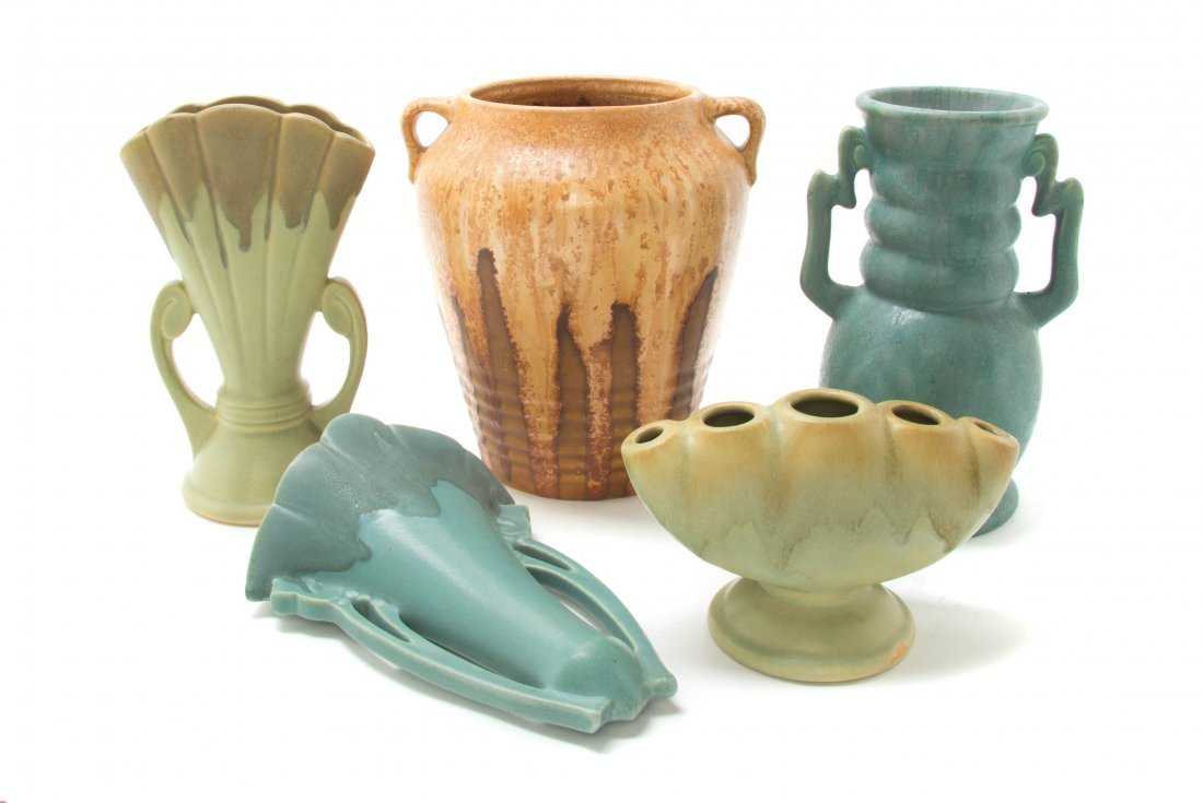 Five Roseville Pottery Articles, Height of tallest 8 3/