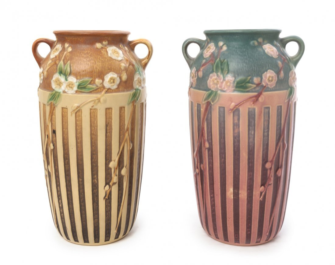 A Near Pair of Roseville Pottery Vases, Height 12 1/2 i