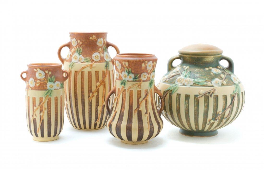 Four Roseville Pottery Vases, Height of tallest 7 1/8 i