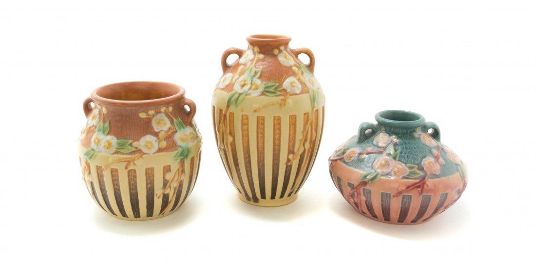 Three Roseville Pottery Vases, Height of tallest 7 1/8