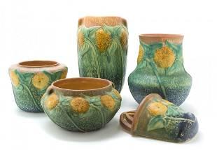 Four Roseville Pottery Vases, Height of tallest 10 1/4
