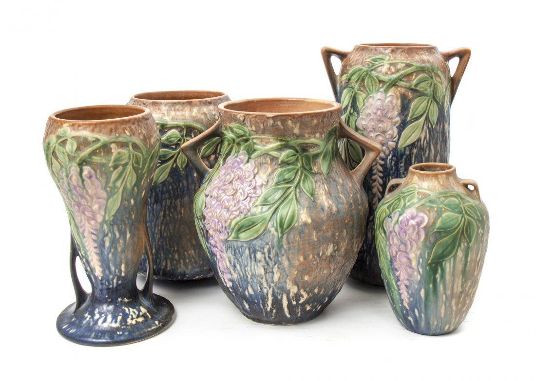 Five Roseville Pottery Vases, Height of tallest 10 3/8